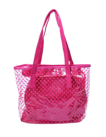 FabSeasons Pink Transparent Printed Large Shoulder Bag