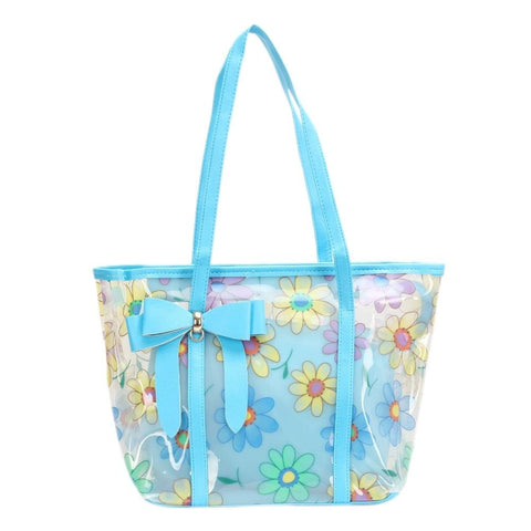 FabSeasons Blue Floral Printed Large Shoulder Bag With Bow