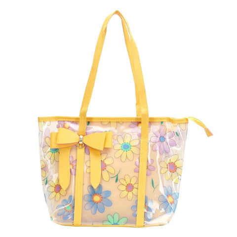 FabSeasons Yellow Floral Printed Large Shoulder Bag With Bow
