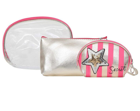 FabSeasons DarkPink 3 in one toiletry-makeup bag-pouch