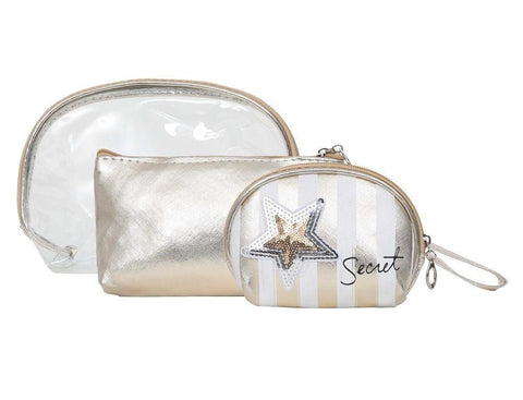 FabSeasons White 3 in one toiletry-makeup bag-pouch