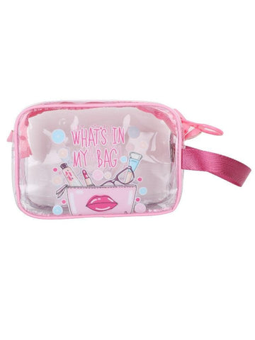 FabSeasons Pink Transparent Handy Toiletry, Travel, Makeup Pouch
