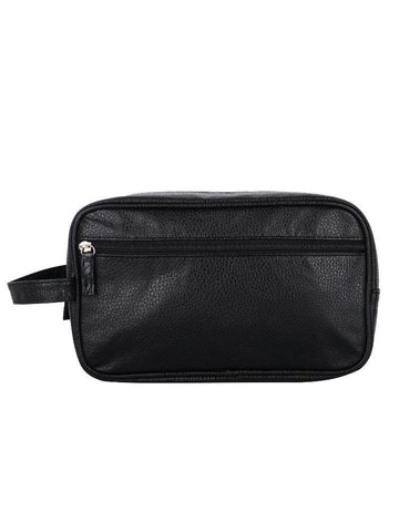 FabSeasons Black Artificial Leather Handy Toiletry, Travel,Cosmetic Pouch