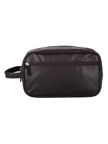 FabSeasons Brown Artificial Leather Handy Toiletry, Travel , Cosmetic Pouch