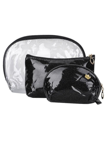 FabSeasons Crown Black Combo of 3 Handy Toiletry, Cosmetic,Travel Pouch