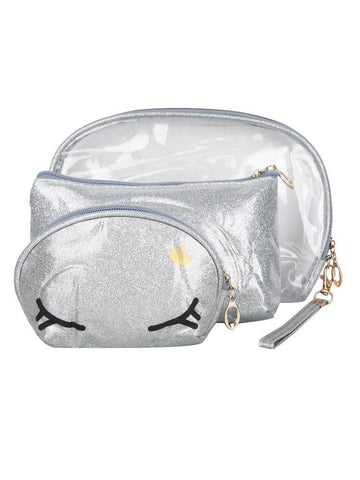 FabSeasons Crown Silver Combo of 3 Handy Toiletry, Cosmetic,Travel Pouch