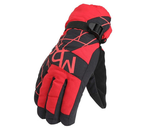 Fabseasons Unisex Red Winter ski & snowboard Gloves, Fleece cloth on the inside.