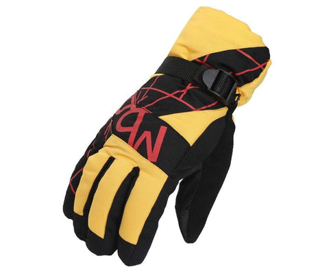 Fabseasons Unisex Yellow Winter ski & snowboard Gloves, Fleece cloth on the inside.