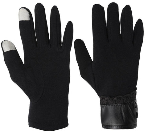Fabseasons Black Woolen gloves with Touchscreen fingers for girls & women