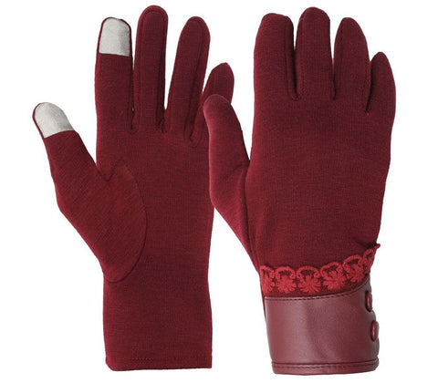 Fabseasons Maroon Woolen Winter gloves with Touchscreen fingers for girls & women