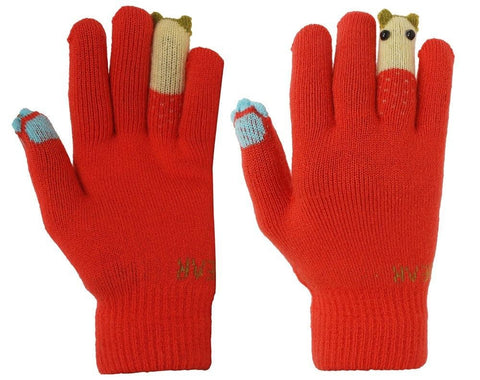 Fabseasons Acrylic Orange Woolen Winter Gloves for Girls & Women