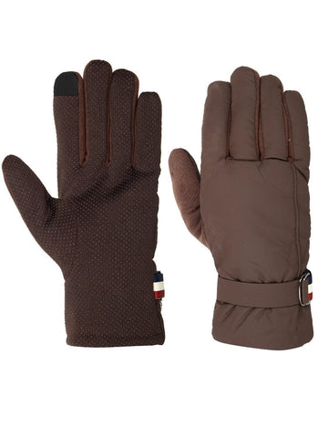 FabSeasons Unisex Solid Winter Browm Gloves with Fleece cloth