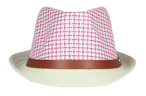 FabSeasons Pink Casual Fedora Hats with Brown Belt