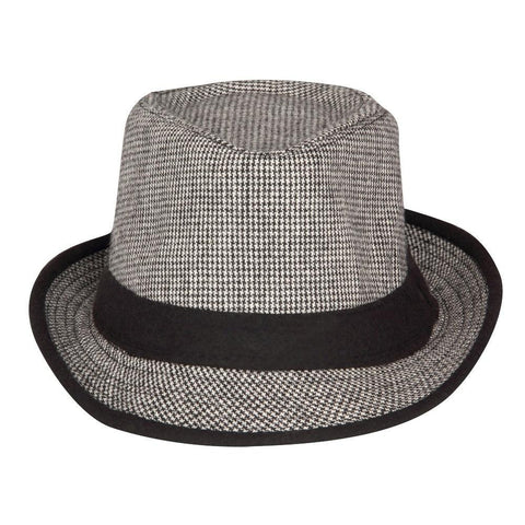 FabSeasons Grey Casual Small Chex Fedora Hat
