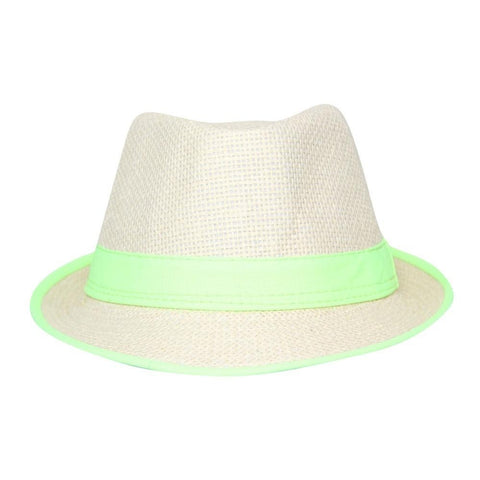 FabSeasons Neon Green Casual Self Design Fedora Hat