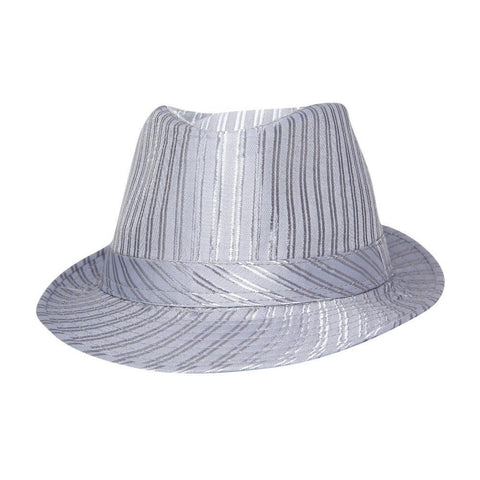 FabSeasons Grey Casual Stripe Self Design Fedora Hat
