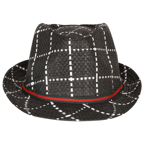 FabSeasons Black Checkered Fedora Hat