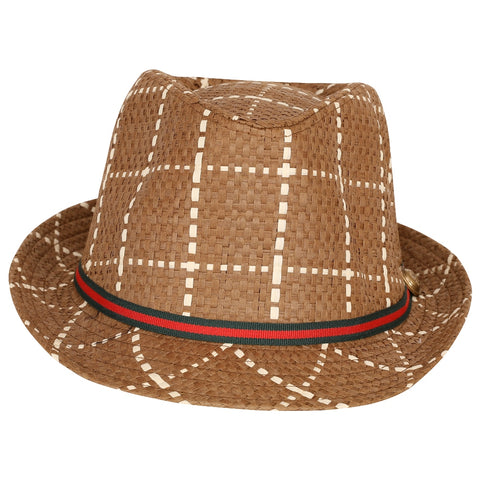 FabSeasons Brown Checkered Fedora Hat