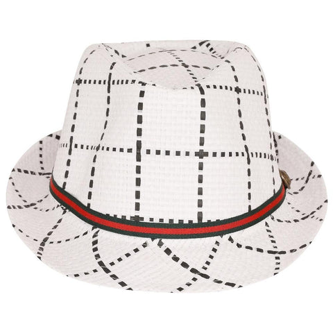 FabSeasons White Checkered Fedora Hat