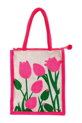 Fabseasons Pink Floral Jute Lunch Bag