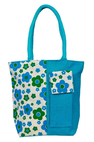 Fabseasons Blue Floral Print Jute Bag with mobile compartment