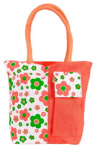 Fabseasons Orange Floral Print Jute Bag with mobile compartment
