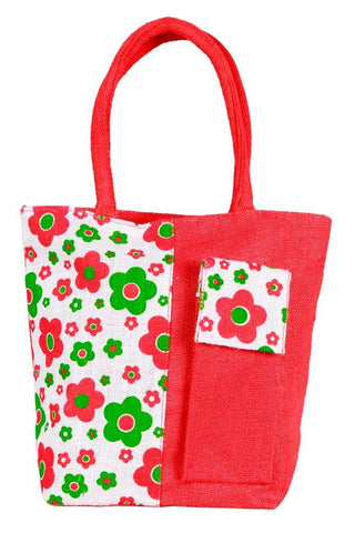 Fabseasons Red Floral Print Jute Bag with mobile compartment