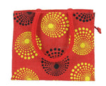 FabSeasons Red circles printed Jute Lunch Bag