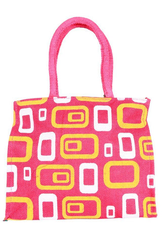 Fabseasons Pink Box Printed Jute Lunch Bag