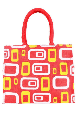 Fabseasons Red Box Printed Jute Lunch Bag