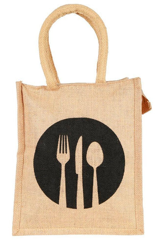 Fabseasons Black Ecofriendly Jute Lunch Bag