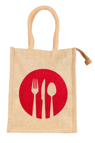 Fabseasons Red Ecofriendly Jute Lunch Bag