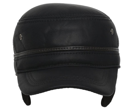 Fabseasons Black Solid Unisex Baseball Cap with Foldable Ear Cover for Winters
