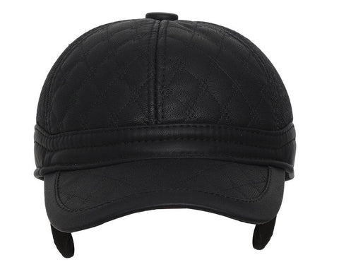 Fabseasons Casual Unisex Black Baseball cap with foldable ear cover for winters