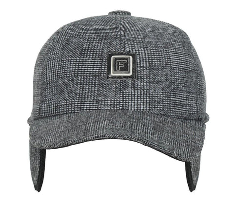 Fabseasons Grey Checkered Baseball Cap with Foldable Ear Cover for Winters