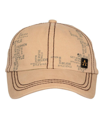 Fabseasons Solid Brushed Beige Color Cotton Cap