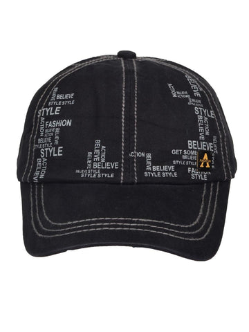 Fabseasons Solid Brushed Black Color Cotton Cap