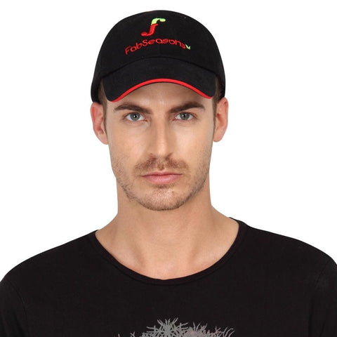 Fabseasons Simple Black Cotton Unisex Adjustable Size Summer Cap