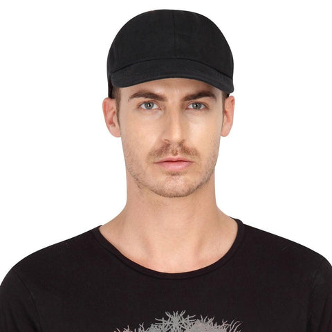 Fabseasons Black Cotton Unisex Summer Cap
