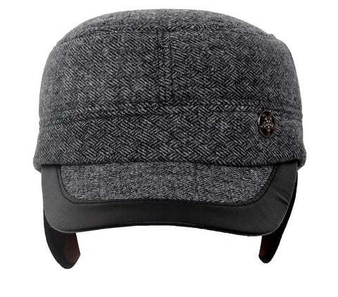 Fabseasons Grey Small Peak Chekered Cap with Ear Covers