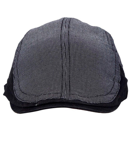 Fabseasons Black Cotton Golf Flat Cap