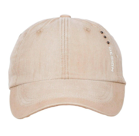 Fabseasons Beige Unisex Washed Faded Cotton Corduroy Baseball Summer Cap