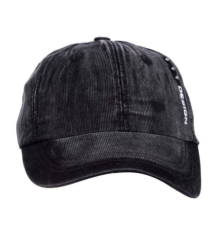 Fabseasons Black Unisex Washed Faded Cotton Corduroy Baseball Summer Cap