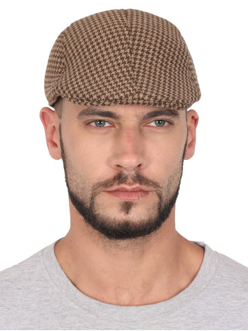 Fabseasons Brown Checkered Polyester Golf Flat Cap