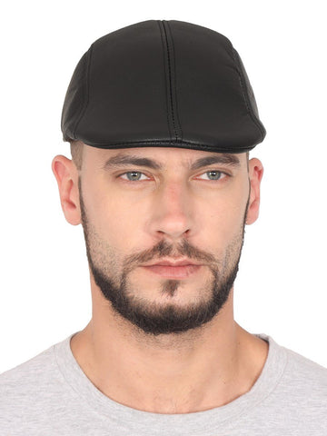 Solid Artificial Leather Golf Flat Cap