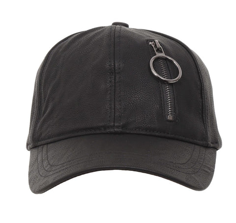 Fabseasons Black Solid Casual Leather unisex Baseball Cap