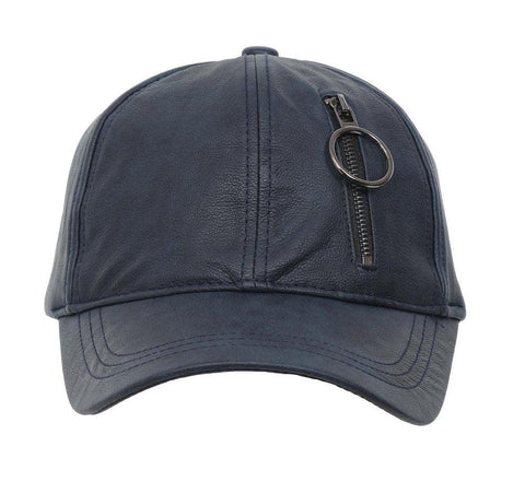 Fabseasons Blue Solid Casual Leather unisex Baseball Cap