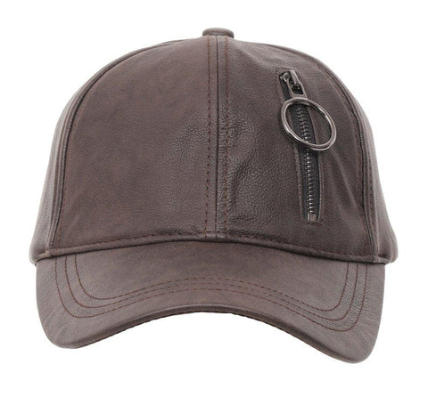 Fabseasons Brown Solid Casual Leather unisex Baseball Cap