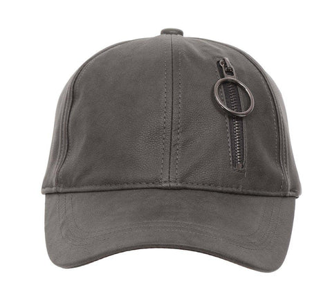 Fabseasons Grey Solid Casual Leather unisex Baseball Cap