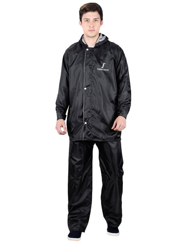 Fabseasons Apex Black Reversible Unisex Raincoat with Hood and Reflector- Ideal for Bikers